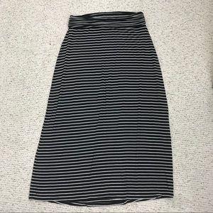 Black with white stripe J Crew Maxi Skirt